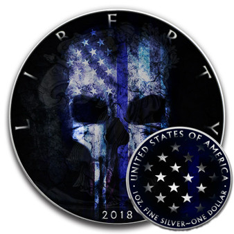 BLUE LINE SKULL – RUTHENIUM and COLOR Liberty 1 Oz Silver Coin 2018