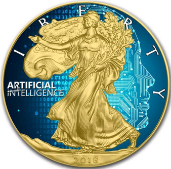 ARTIFICIAL INTELLIGENCE - 24K GOLD GILD Liberty 1 Oz Silver Coin 2018