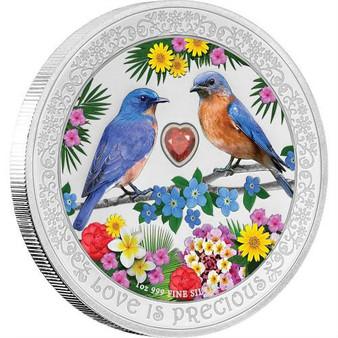 BLUEBIRDS Love is Precious 1 Oz Silver Coin 2$ Niue 2019