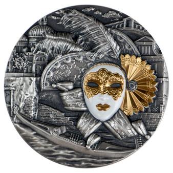 VENETIAN MASK High Relief Coin 2 Oz Silver Coin 5$ Niue 2019