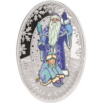 FATHER FROST SNOW MAIDEN Matrioshka 1 Oz Silver Coin 5$ Solomon Islands 2019