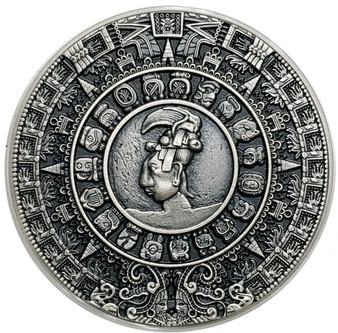 MAYAN CALENDAR  High relief 2 Oz Silver Coin 2$ Niue 2018