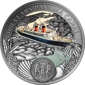 100 Years PANAMA CANAL Proof-like partly Frosted 1.6 oz Silver Coin Niue 2014