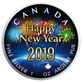 Around the Globe New Year - Maple Leaf 1 oz Pure Silver Coin - Canada 2019
