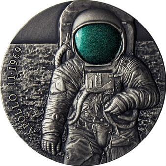 APOLLO 11 MOON 50th Anniversary UFO 3 Oz Silver Coin 3000 Francs Cameroon 2019