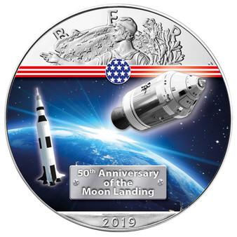 APOLLO 11 50th. ANN. MOON LANDING 1 oz Silver Eagle Coin 2019 USA