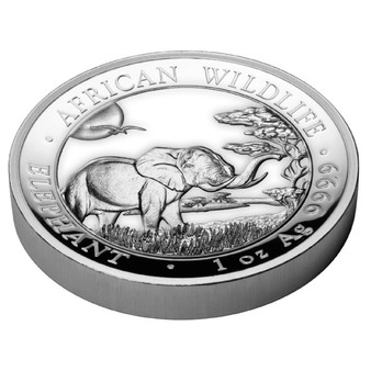 HIGH RELIEF ELEPHANT African Wildlife 1 oz silver coin Somalie 2019