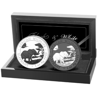 Black & White ELEPHANT African Wildlife 2x 1 oz silver coin Somalie 2019