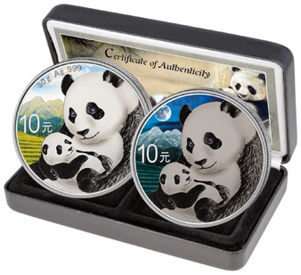 PANDA Day and Night Colorized Silver Coin 10 Yuan China 2019