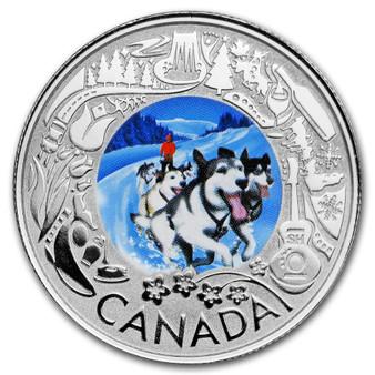 DOG SLEDDING Winter Lights Silver Coin $3 Canada 2019