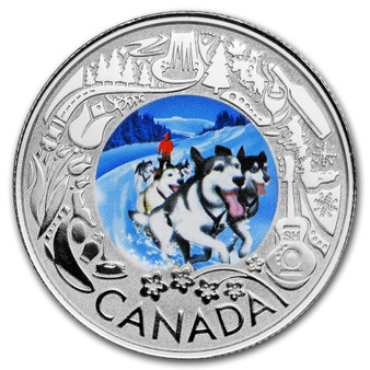 DOG SLEDDING Winter Lights Silver Coin $3 Canada 2019