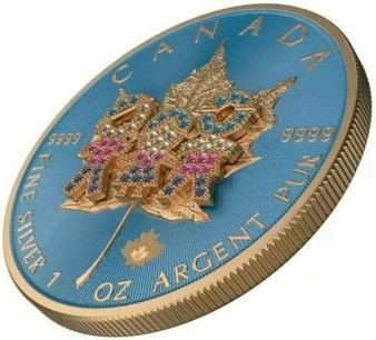 2019 Canada FAMILY DAY BEJEWELED Maple Leaf Coin 1 Oz Silver 24K ROSE GOLD 2019