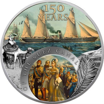 150TH YEARS OF THE SUEZ CHANNEL 1 Oz Silver Coin 2$ Niue 2019