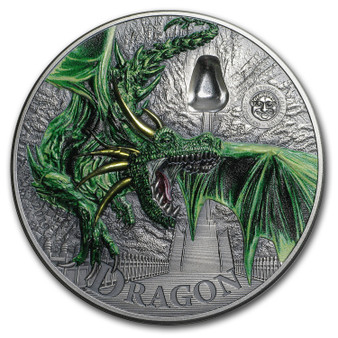 GREEN DRAGON Mythical Creatures 2 Oz Silver Coin 10$ Palau 2019