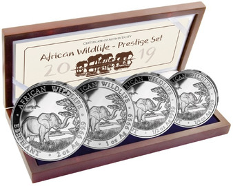African Elephant Proof Prestige 4-Coin Silver Set 2019 Somalia
