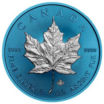 MAPLE LEAF Space Blue Edition 1 oz Silver Coin Canada 2019