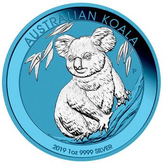 KOALA Space Blue Edition 1 oz Silver Coin 1$ Australia 2019