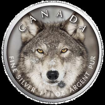 WOLF MAPLE LEAF Canada's Wildlife - 1 Oz .9999 Silver Coin 5$ 2019