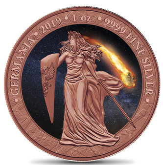 GERMANIA Atlas of Meteorites - Moldavite Meteorite 5 Mark 1 Oz .9999 Silver Round