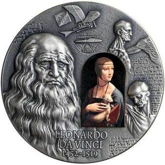 LEONARDO VINCI 500th Ann. 2 Oz Silver Coin 2000 Francs Cameroon 2019