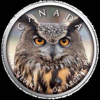 OWL MAPLE LEAF Canada's Wildlife - 1 Oz .9999 Silver Coin 5$ 2019