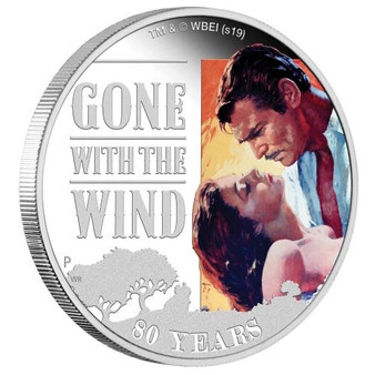 GONE WITH WIND 80th Anniversary 1 Oz Silver Coin 1$ Tuvalu 2019