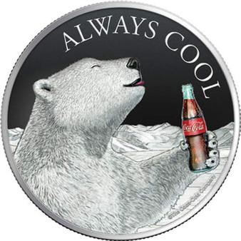 COCA COLA Polar Bear Always Cool 1 Oz Silver Coin 2$ Fiji 2019