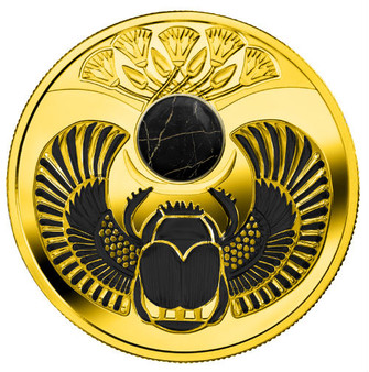 ONYX SCARABAEUS Silver Coin with Tiger Onyx insert 1$ Niue 2019
