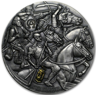 3 oz FOUR HORSEMEN OF THE APOCALYPSE Silver High Relief Coin Cameroon 2019