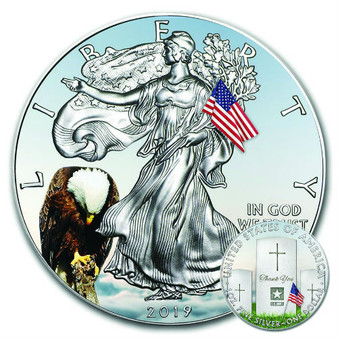MEMORIAL DAY – 1 OZ American Silver Eagle Coin– Color 2019