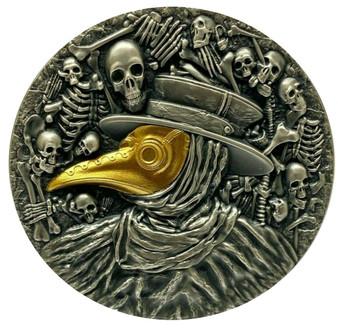 MASK OF PLAGUE DOCTOR - 2 OZ Silver Coin Antique Finish 2019 Niue