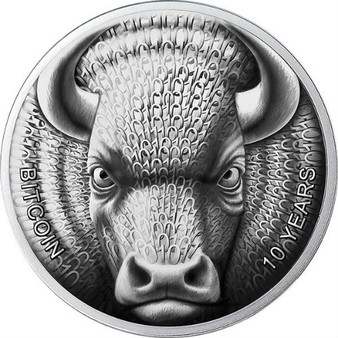 BINARY BULL -SOL NOCTIS –10 Years Ann. of BITCOIN 2019 1 OZ Silver Coin 1 MBTC