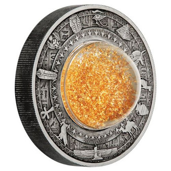 Golden Treasures of Ancient Egypt 2oz Silver Antiqued Coin Tuvalu 2019