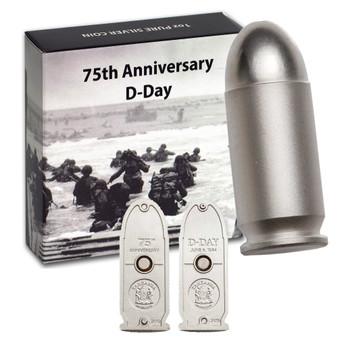 D-DAY Bullet 75th Anniversary Set 2 Silver Coins Tanzania 2019