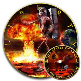 SKELETAL EAGLE ARMAGEDDON MOON- 1 Oz Silver coin Liberty USA 2019