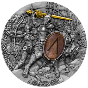 AMAZONS Women Warriors 2 Oz High Relief-Wood Inlay Silver Coin Niue 2019