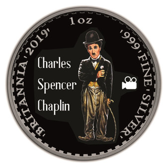 CHARLIE CHAPLIN 1 oz Silver Ruthenium Coin UK 2019
