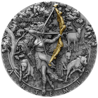 ARTEMIS itGoddesses High Relief Gold Plating 2 Oz Silver Coin Niue 2019