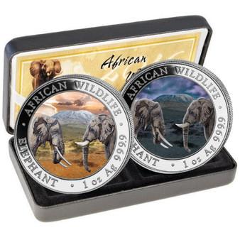 African Wildlife ELEPHANT Day-Night 2x 1 oz. Silver Coins Somalia 2020