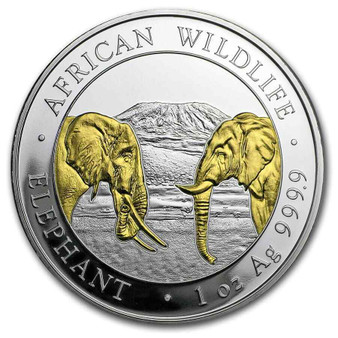 2020 ELEPHANT African wildlife 1 Oz Silver Gold Gilded Coin Somalia