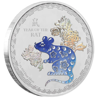 YEAR OF THE RAT- 1 Oz Silver Proof Color coins 2020 Niue
