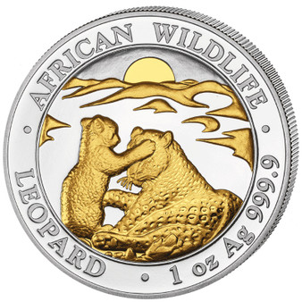 LEOPARD with cub African Wildlife 1 oz Silver Gold Gilded Coin 2019 Somalia