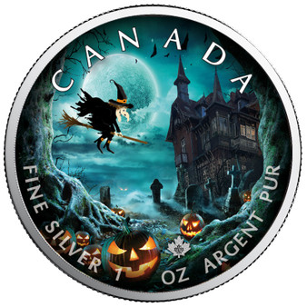 HALLOWEEN GHOST TOWN - Maple Leaf 1 oz Silver Coin Canada 2019