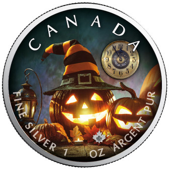 HALLOWEEN The Witching Hour - Maple Leaf 1 oz Silver Coin Canada 2019