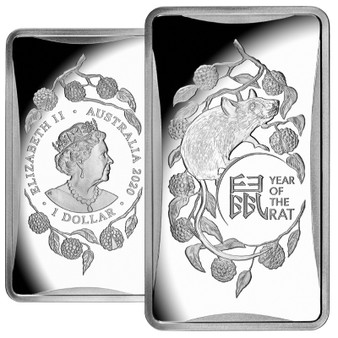 Year of the Rat - Rectangular Silver Coin $1 Australia 2020