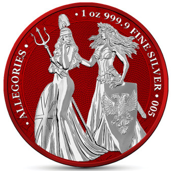 BRITANNIA & GERMANIA 2019 –The Allegories Space Red 5 Mark 1oz Silver