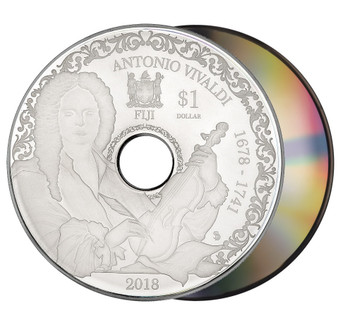 ANTONIO VIVALDI Playable CD Proof Silver Coin Fiji 2018
