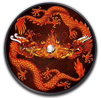 BURNING DOUBLE DRAGON 1 oz Ruthenium Coin $1 2019 Australia