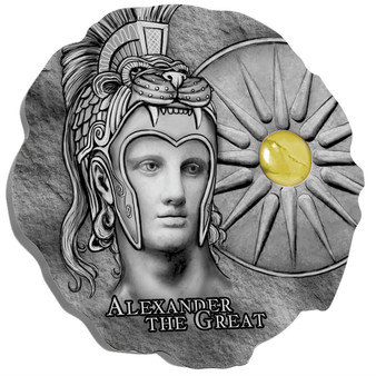 ALEXANDER THE GREAT w/Cat's Eye Stone Insert Silver Coin Cameroon 2020