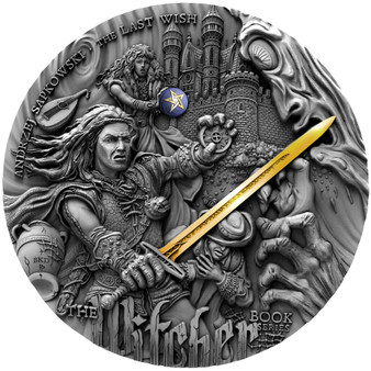 THE WITCHER Last Wish 2 oz High Relief Gold Gilded Silver Coin $5 Niue 2019